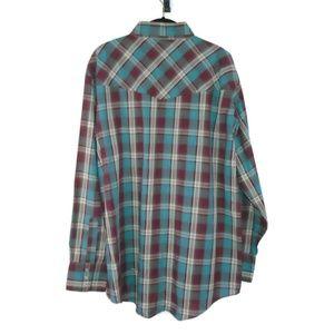 Ely Cattleman Shirts - Plaid VTG Shirt Pearl Snaps Single Stitch Men's XL